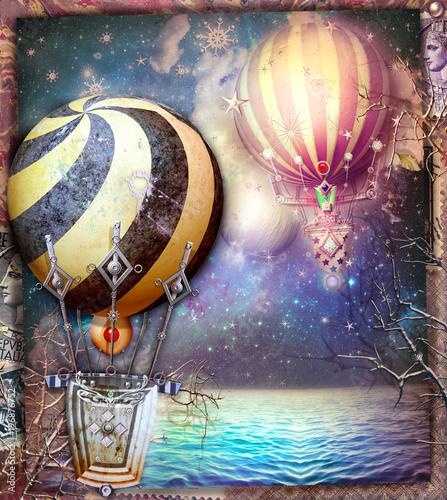 Poster Imagination Mongolfiere bizzarre e fantastiche in volo in un paesaggio marino fantastico e notturno
