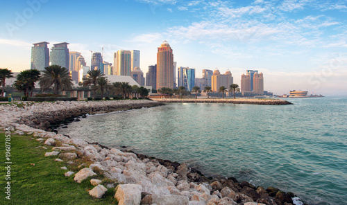 Qatar - Doha city skyline with sea