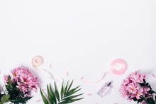 Bouquets Of Pink Flowers, Palm Leaf, Perfume