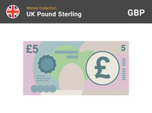 5 Pound Sterling Banknote. British Money. Currency. Vector Illustration.