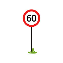 Red Round Sign With Number 60 ...