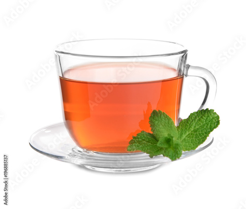 Staande foto Thee Glass cup of hot tea with mint on white background