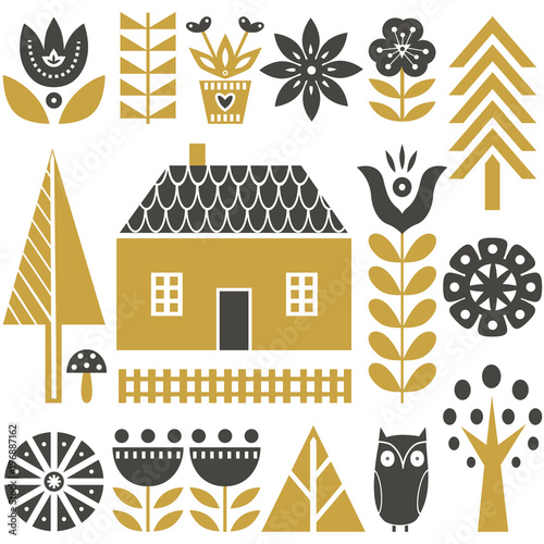 Scandinavian folk art seamless vector pattern with flowers, trees, mushrooms, ow Fototapeta