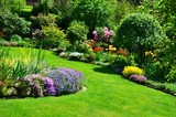 Fototapeta Flowers - beautiful garden with perfect lawn