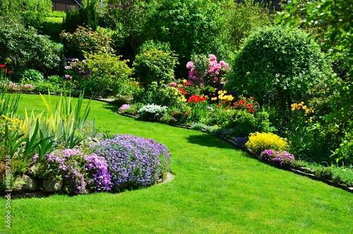 Aluminium Prints Garden beautiful garden with perfect lawn