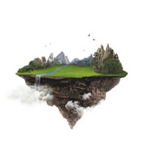 Isolated green floating island with mountain and waterfall flying high in the sky