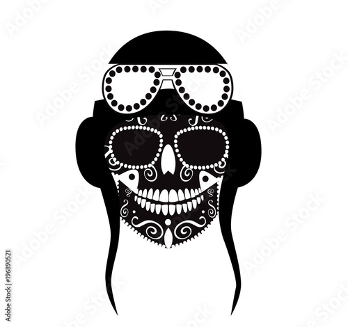 Fotografie, Obraz  Pilot skull, war icon, vector illustration