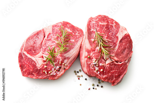 Recess Fitting Steakhouse fresh raw rib eye steaks isolated on white background