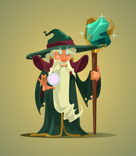 Fairy Tail Old Wizard Magician Man Character Holding Magic Stick. Vector Flat Cartoon Character Illustration