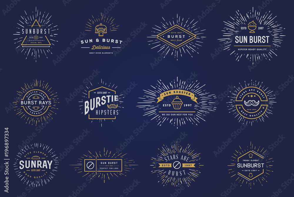 Fototapety, obrazy: Sun burst vintage shapes collection set of sun ray frames retro raster design elements