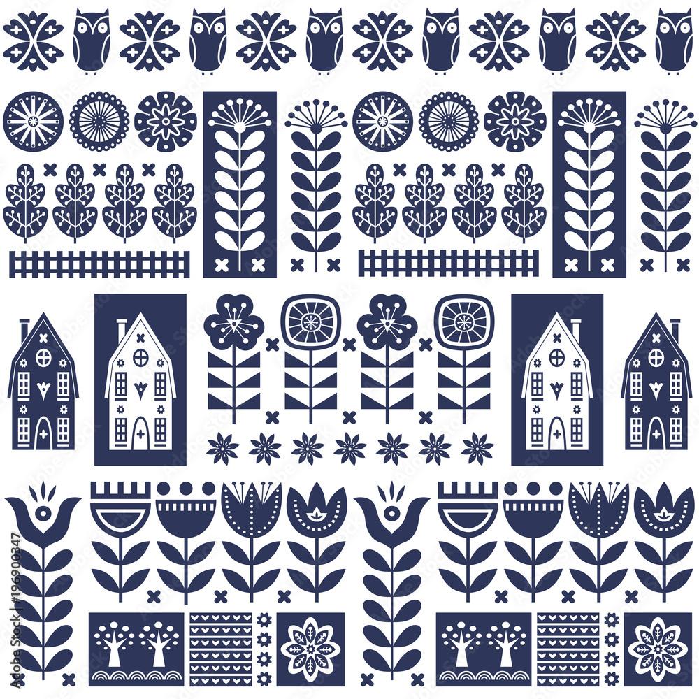 Fotografie, Obraz Scandinavian folk art seamless vector pattern with flowers, trees, owl, houses w