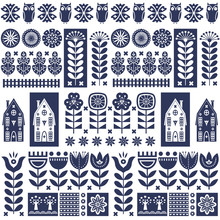 Scandinavian Folk Art Seamless Vector Pattern With Flowers, Trees, Owl, Houses With Decorative Elements In Simple Style