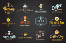 Set Of Raster Coffee Logotype ...