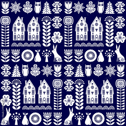 Scandinavian folk art seamless vector pattern with flowers, trees, rabbit, owl, Wallpaper Mural