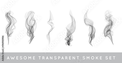 Türaufkleber Rauch Raster Collection or Set of Realistic Cigarette Smoke or Fog or Haze with Transparency Isolated can be used with any Background