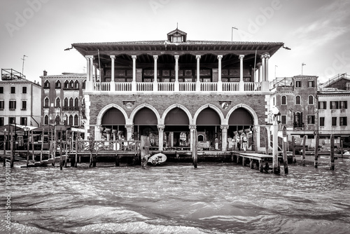 Staande foto Praag Old palace on Grand Canal, Venice, Italy. Historical architecture of Venice in black and white. Ancient house on the water in Venice. Traditional view of a street of Venice. Vintage retro style photo.