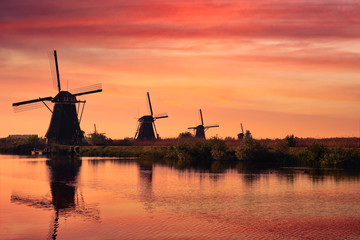 FototapetaWindmills at Kinderdijk in Holland. Netherlands