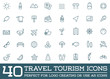 Leinwanddruck Bild - Set of Raster Travel Tourism and Holiday Elements Icons Illustration can be used as Logo or Icon in premium quality
