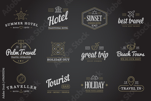 Poster Retro Set of Raster Travel Tourism and Holiday Elements Icons Illustration can be used as Logo or Icon in premium quality