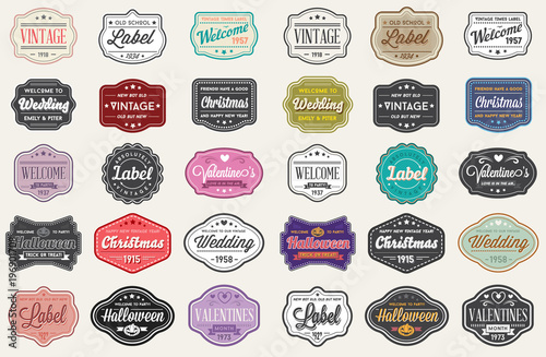 Foto op Canvas Retro Raster Set of Vintage Retro Styled Premium Design Labels