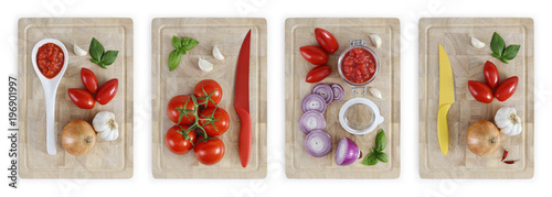 Staande foto Verse groenten set of cutting boards with tomatoes, onions, garlic, basil and sauce, vegetables food top view isolated on white banner background