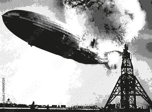 dirigeable - catastrophe - accident - zeppelin - aviation - explosion - incendie Canvas Print
