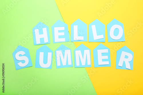 Poster Retro sign Inscription Hello Summer on colorful background