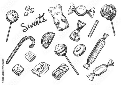 Fotomural sweets candies set
