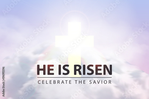 Fotografía Vector realistic isolated religious poster with He Is Risen text for decoration and covering on the sky background with clouds and sunrise