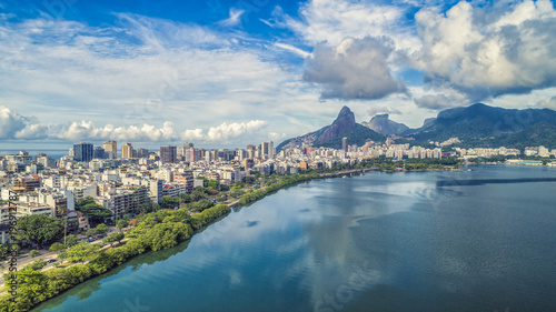 Sunrise over Ipanema Beach in Rio de Janeiro with water reflection, Brazil. Aerial view