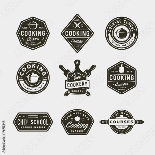 Leinwand Poster set of vintage cooking classes logos