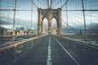 On the famous Brooklyn Bridge in the morning