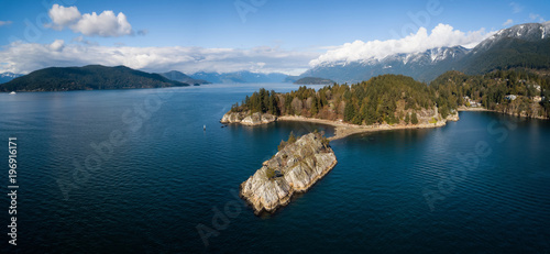 Aerial panoramic view of Whytecliff Park during a vibrant sunny day Canvas Print