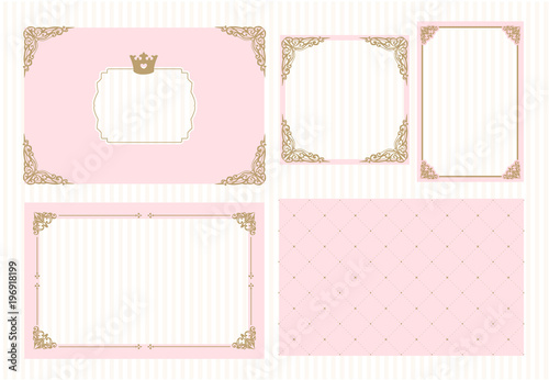 Fototapeta A Set Of Cute Pink Templates For Invitations Vintage Gold Frame With Crown A Little Princess Party Baby Shower Wedding Girl Birthday