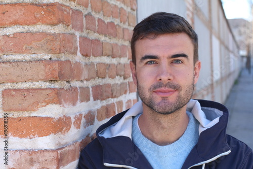 Real man close up isolated
