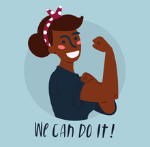 We Can Do It Poster. Strong African American Girl. Classical American Symbol Of Female Power, Woman Rights, Protest, Feminism Vector Colorful Hand Drawn Woman In Retro Comic Style. Empowerment Concept