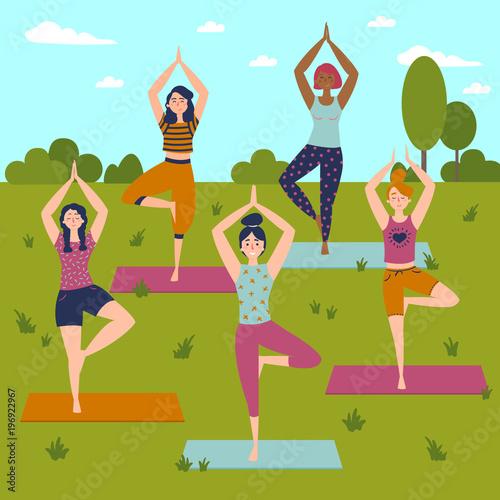 Set with beautiful women in vrkasana asana pose of yoga vector set set with beautiful women in vrkasana asana pose of yoga vector set of exercises illustration m4hsunfo