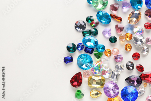 Fotografie, Obraz  Colorful precious stones for jewellery on white background