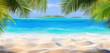 Leinwandbild Motiv Tropical Sand With Palm Leaves And Paradise Island