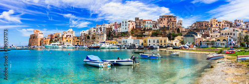 Printed kitchen splashbacks European Famous Place Castellammare del Golfo - beautiful coastal town in Sicily. Italy