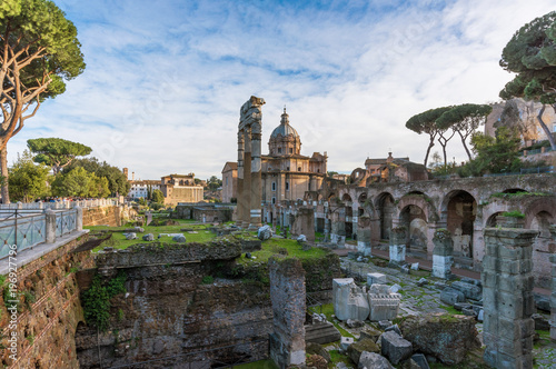 Photo  Rome, Italy  - The archeological ruins in historic center of Rome, named Imperial Fora