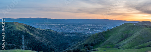Mountains Forming Silicon Valley with San Jose City in the Center