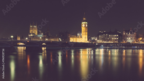 London night view with Big Ben and parliament at westminster Canvas Print