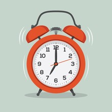 Ringing Alarm Clock Flat Illus...