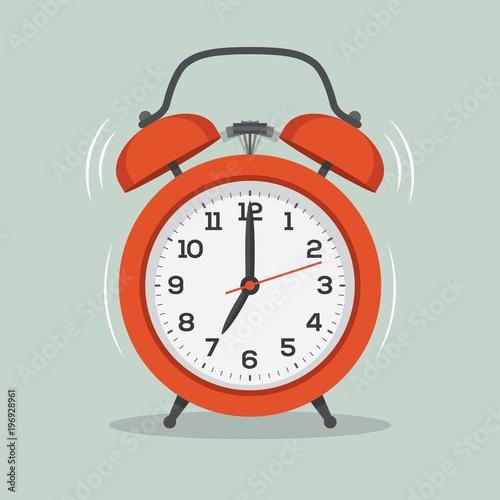 Fototapeta Ringing alarm clock flat illustration. obraz