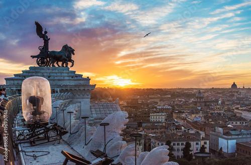 Obraz na plátne  Rome, Italy - The cityscape from Vittoriano monument, in the center of Rome, also know as 'Altare della Patria'