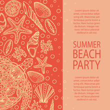 Summer Party Invitation. Seashells, Sea Stars, Corals And Bubbles Background. Marine Illustration With Starfishes, Shells, Mollusk, Clam Icon Collection