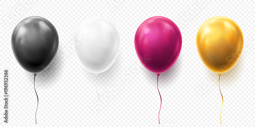 Realistic glossy golden, purple, black and white balloon vector illustration on transparent background Fototapet