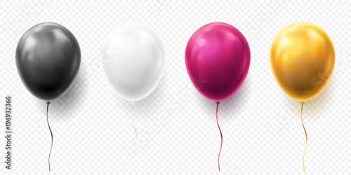Obraz na plátně Realistic glossy golden, purple, black and white balloon vector illustration on transparent background
