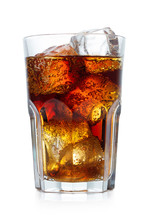 Single Glass Of Cola With Ice Isolated On White Background